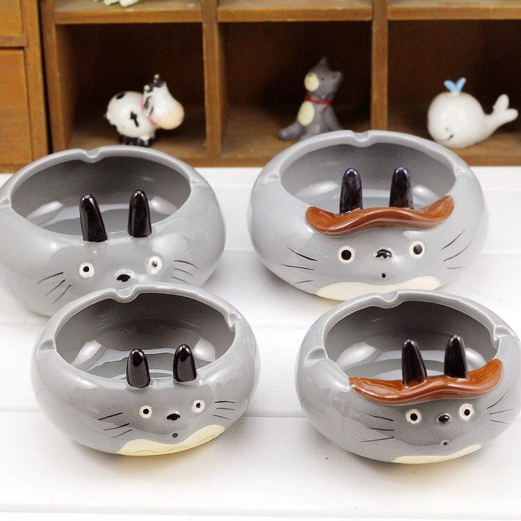 Figura impresa de acción de Anime de dibujos animados, Gato Totoro de cerámica gris, fumadores creativos, bonitos ceniceros, accesorios para fumar, decoración de muñecas
