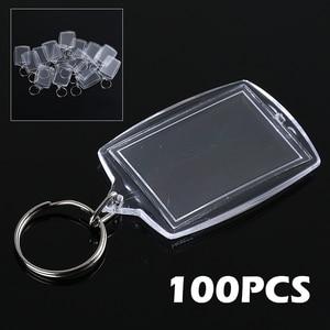 100pcs Keychain Acrylic Key Chain Key Ring Blank Keyrings Insert Photo Passport Keychain Gift for Women Men Kids 46*33mm