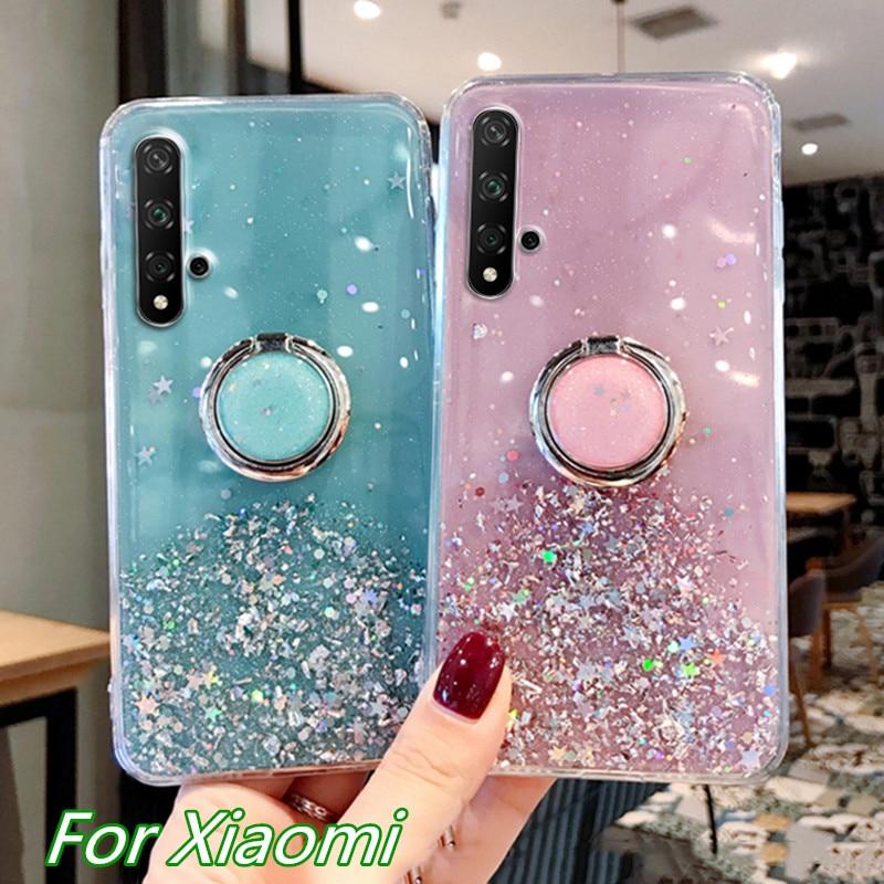 Glitter Bling Sequins Case For Xiaomi 8 9 SE CC9E CC9 Note 10 Pro Redmi K20 Note 5 6 7 8T 8 Pro Starry Sky Transparent Soft Case