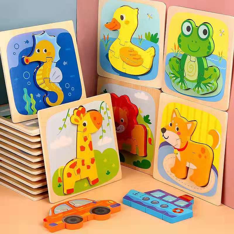 Niños rompecabezas 3D animales de dibujos animados juguete de Madera Juguetes de aprendizaje temprano para niños juguetes educativos Montessori divertidos regalos de cumpleaños