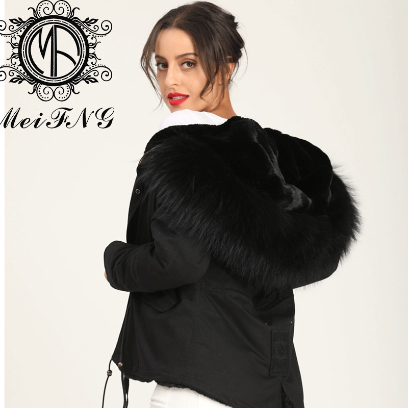 Classic Style Short Keep Warm Womens Black Furs Parka Coat Factory Selling With Discount enlarge