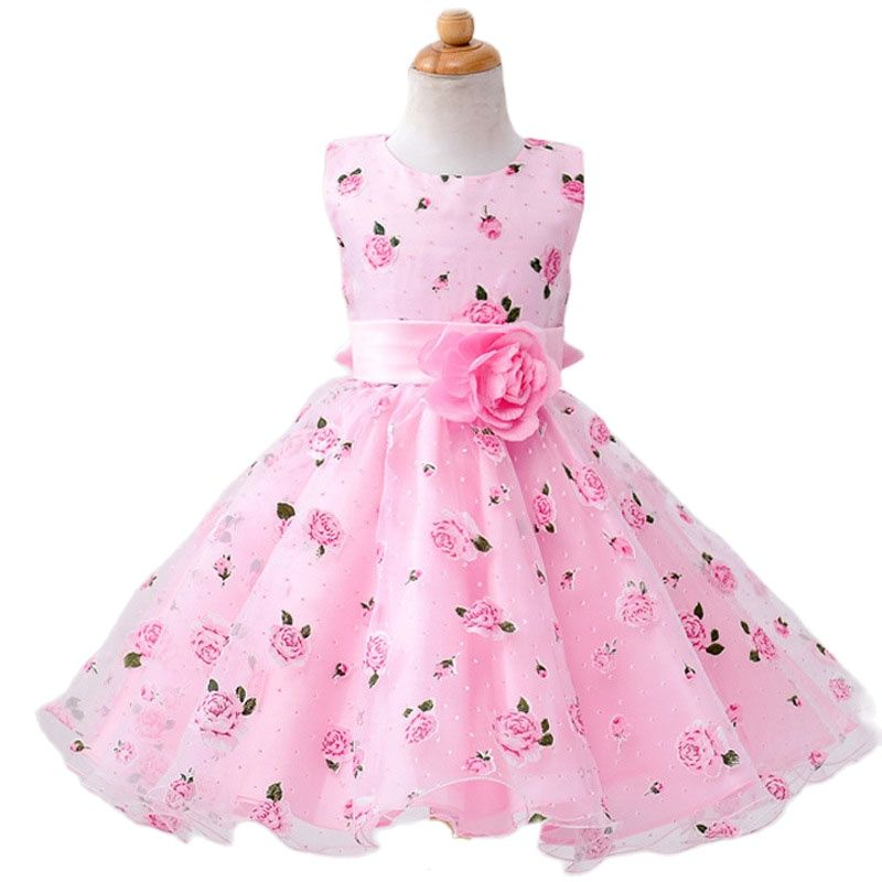 children's dresses casual cotton print lace bow mesh girld dresses sleeveless o-neck ball gown girl dress 3 4 6 8 10 12 years