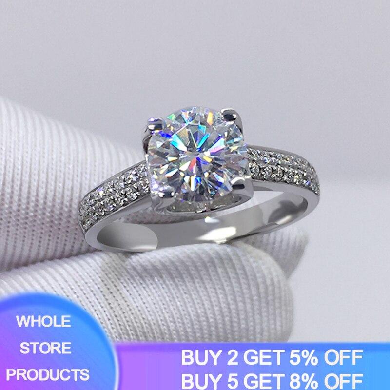 Big 98% OFF! Authentic 100% 925 Sterling Silver 8mm 2.0ct Zirconia Diamond Ring Wedding Fine Jewelry 2020 New Design