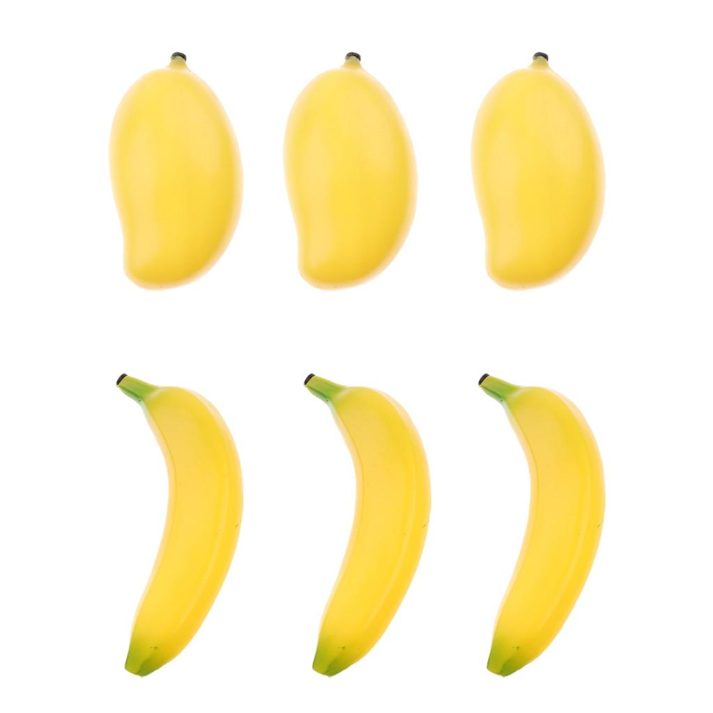 6 حزمة أطفال البلاستيك الفاكهة شاكر خشخيشات Maracas لمحبي حفلة الرقص KTV ، 3x الموز وهمية ، 3x وهمية