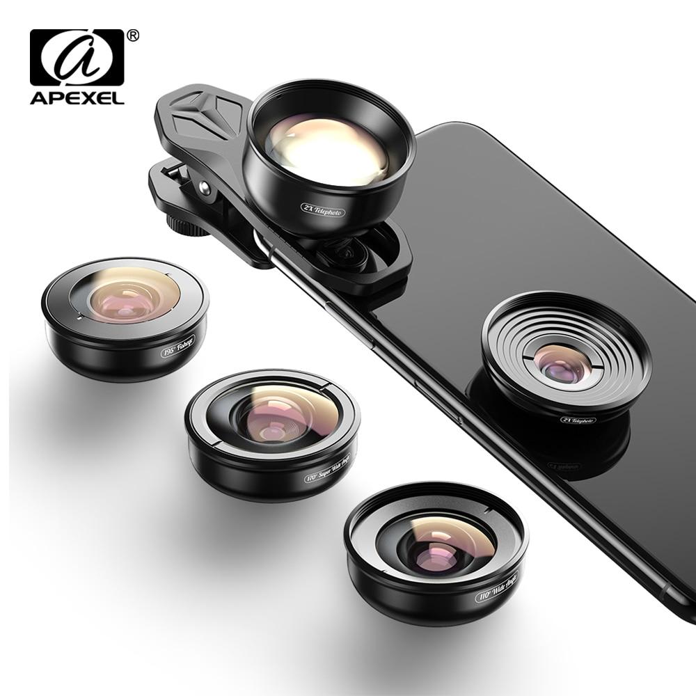 APEXEL-عدسات كاميرا 5 في 1 عالية الدقة ، تلسكوب ماكرو كبير 4K ، عدسة عين سمكة سوبر لهاتف iphone x xs max Samsung s9 ، جميع الهواتف الذكية