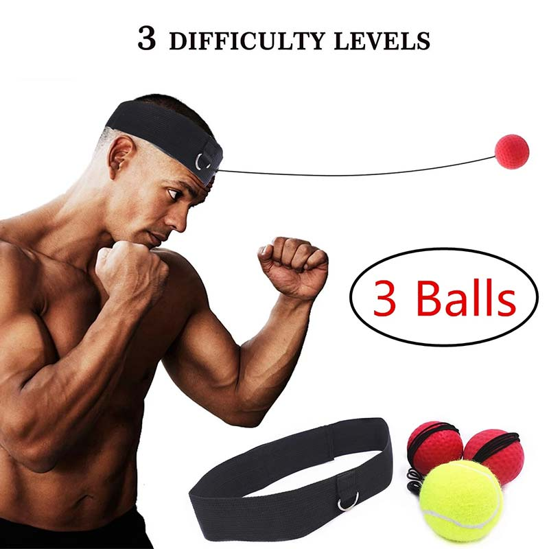 Boxing Reflex Ball Set 3 Difficulty Level Boxing Balls with Adjustable Headband for Punching Speed Reaction Agility Training