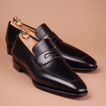 New Fahsion Pu Leather Slip-on Men's Dress Shoes Casual Low Heel Business Italian Style Classic Loaf