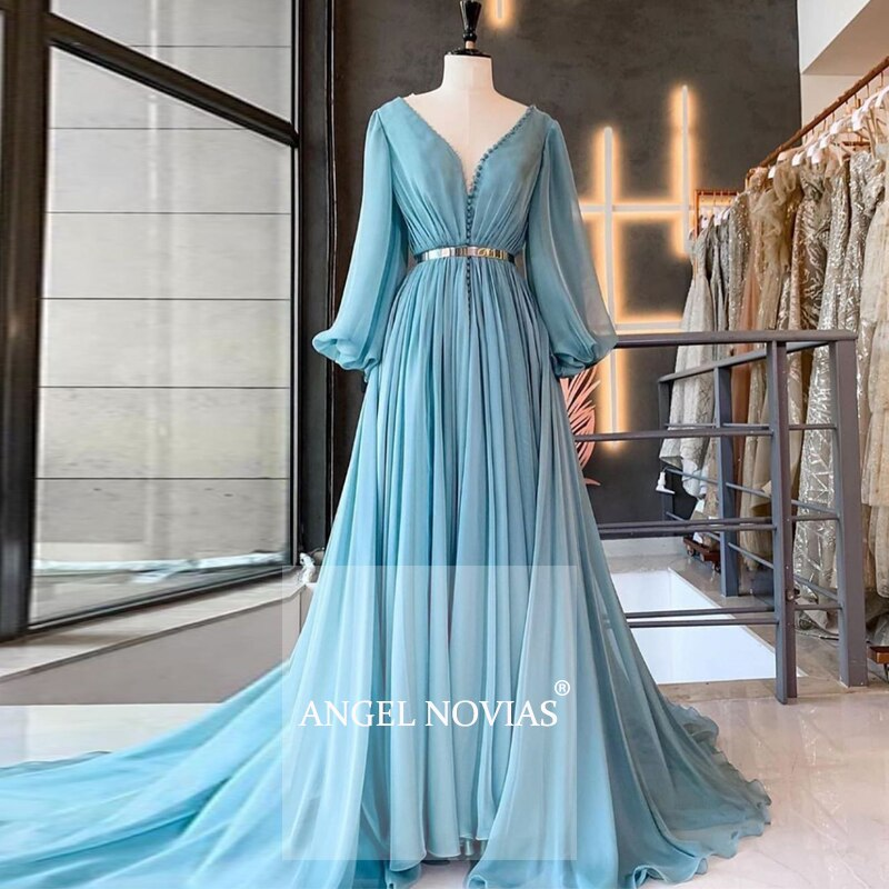 Manga larga luz azul 30d de noche árabe 2020 kaftan Dubai Vestidos...
