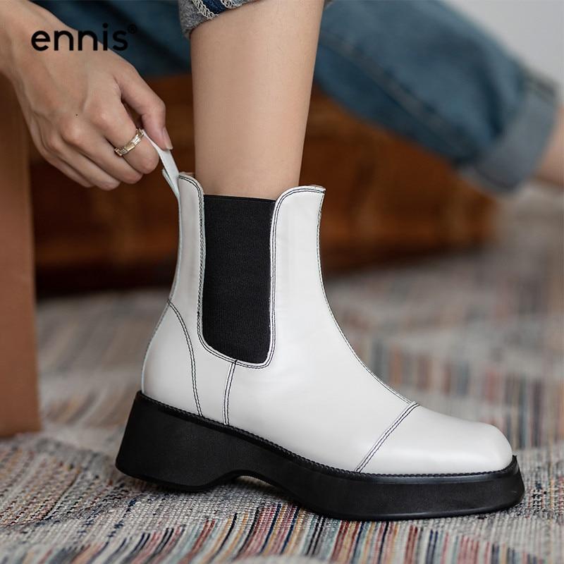Ennis tamanho grande chelsea botas plataforma tornozelo botas feminino nariz quadrado sola grossa sapatos split couro preto botas branco a0151