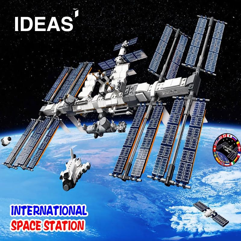 Novo 6004 ideias estação espacial internacional construção tijolos compatível iss 21321 brinquedo educativo crianças presentes de aniversário