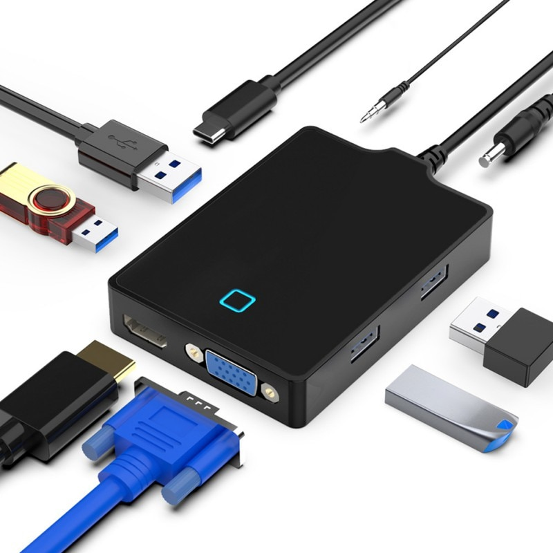 8-in-1 نوع-C محطة الإرساء USB-C إلى VGA/HDMI-متوافق محول USB3.0 5Gbps محور نوع C إلى HDMI/مهايئ VGA
