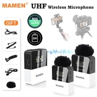 mamen mini uhf wireless lavalier microphone system with 800mah battery 50m pickup for dslr camera phone vlog interview recording