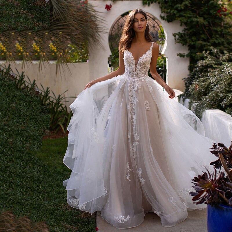 2021 طويل بوهو ألف خط فستان الزفاف عارية الذراعين ثلاثية الأبعاد الزهور السباغيتي حزام فستان عروس الأميرة طول الكلمة ثوب زفاف