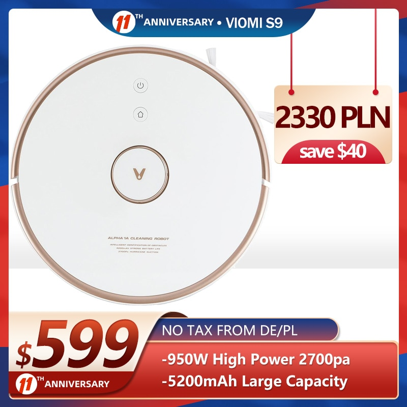 2021 VIOMI S9 Robot Vacuum Cleaner 2700Pa 3L Bag Auto Dust Collector, for Pets Hair,Carpets and Hard Floor,220 Mins Running Time