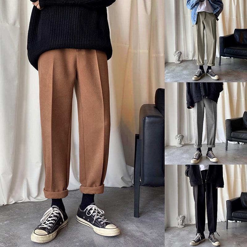 2019 otoño e invierno nuevo de Lana de moda Casual pantalones versión coreana de suelta moderna de Color liso rebelde ancho pierna ancha pantalones M-2XL