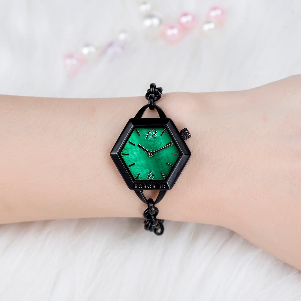Женские деревянные часы BOBO BIRD, женские наручные часы из сплава, японский кварцевый Роскошный Подарок на годовщину, Подарочная коробка, перс...