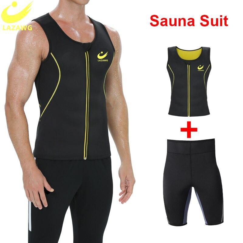 LAZAWG  Mens Sauna Sweat Suits Neoprene Top and Slimming Pants Waist Trainer High Waist Slimming Bod