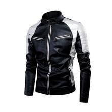 Chaqueta de cuero polar con empalme de Motor informal de primavera 2020 para hombre, chaqueta de cuero cálida Vintage de estilo motero a la moda de otoño para hombre