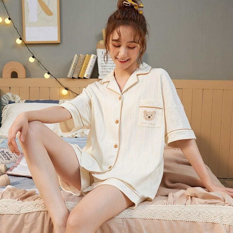 Summer 2021 New Pajamas Women's Korean Cardigan Thin Short Sleeve Pure Cotton Student Bear Home Suit