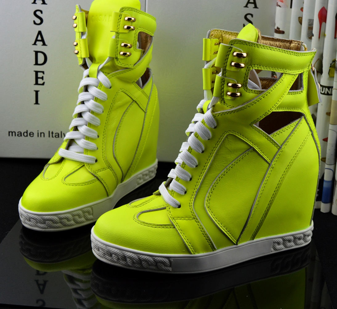 Zapatillas de deporte elegantes con cuña y tacón alto oculto para club nocturno, botas hasta los tobillos con cordones, zapatos de punta redonda de piel auténtica en 14 colores X1