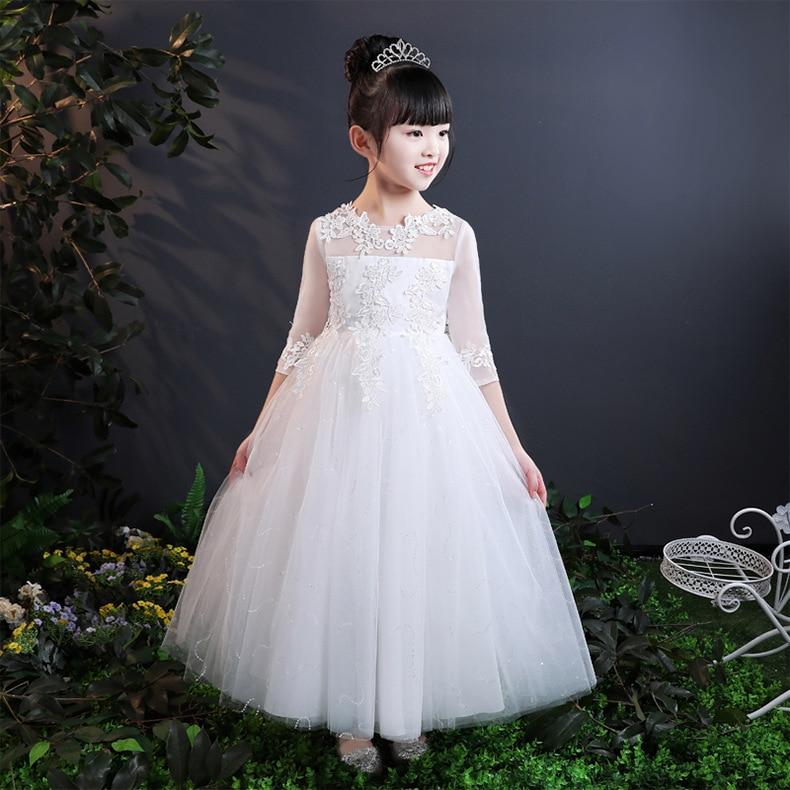 فستان بناتي مطرز 2018 للأطفال فستان أبيض للأطفال فستان فخم مناسب للحفلات فستان الأميرات فستان طويل للفتيات الصغيرات