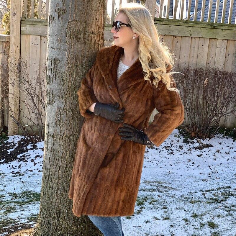 BFFUR النساء الفراء الطبيعي معاطف الشتاء جودة عالية بيلت كامل حقيقي فرو منك معطف طويل العصرية القهوة اللون الحقيقي الفراء معاطف