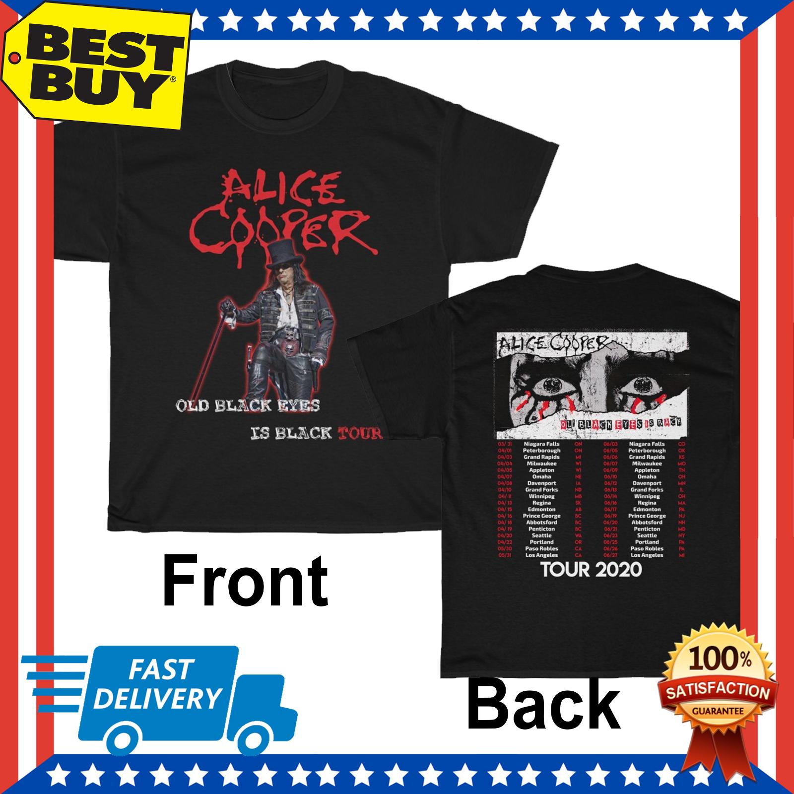 Alice Cooper camisa Ol Black Eyes Is Back Tour 2020 camiseta tamaño hombres negro S 5Xl