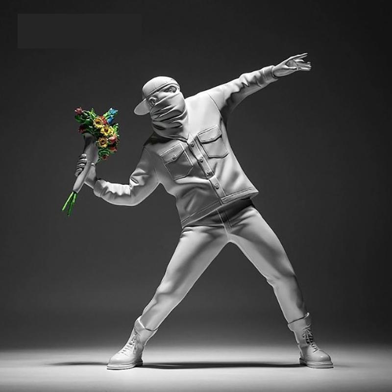 27cm Banksy Flower Bomber Medicom Resin Figurine England Street Art Sculpture Statue Bomber Polystone Figure Collectible Art