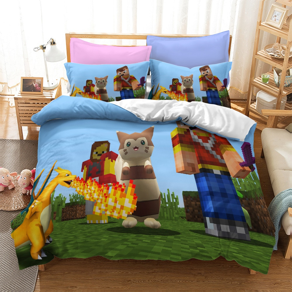 My Game World Mini craft Bedding Sets US/Europe/UK Size Quilt Bed Cover Duvet Cover Pillow Case 2-3 Pieces Sets Adult Children