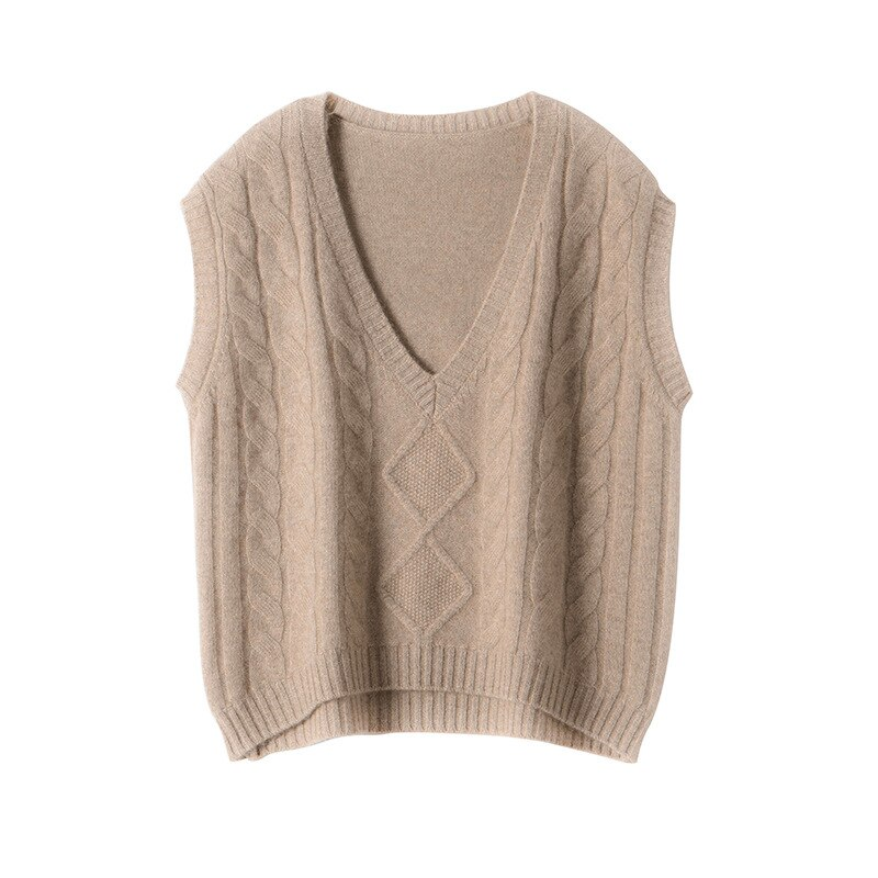 SHUCHAN SWEATER Vest Women 30% Cashmere 70% Wool England Style Sleeveless  V-Neck Solid  Knitted Vest Women