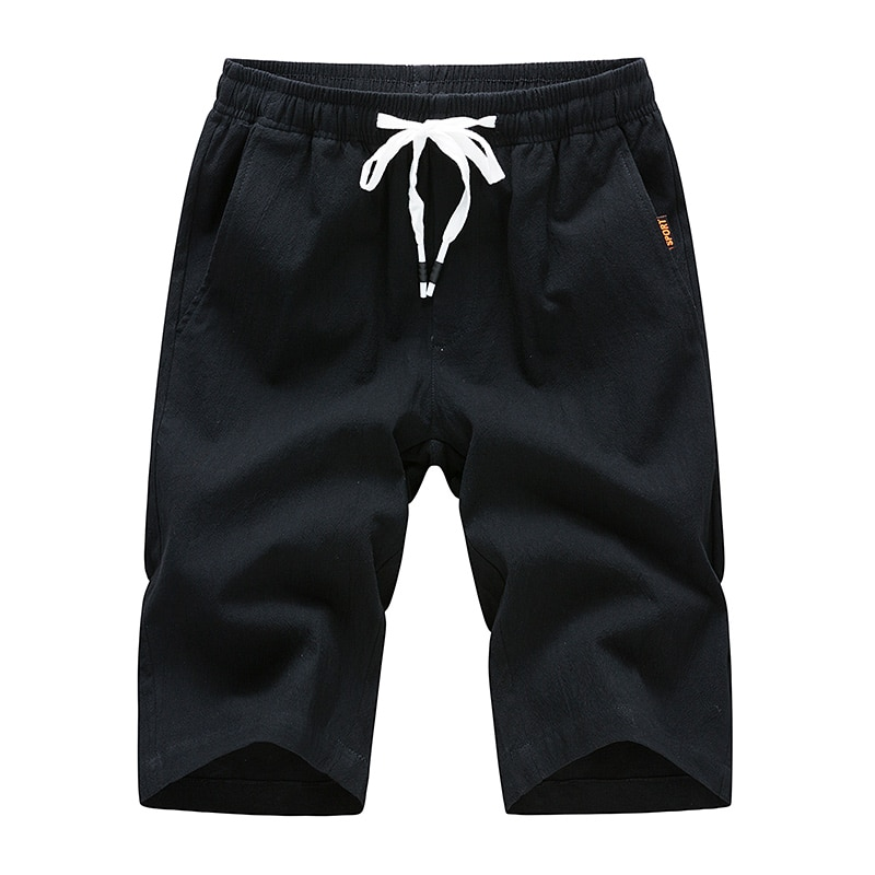 2021 summer shorts men Large size men's beach shorts  cotton and linen solid color casual shorts