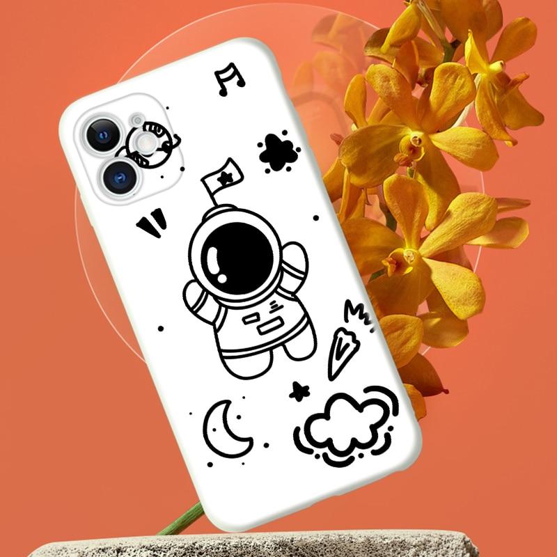 Cute Astronaut Space Phone Case For iPhone 8 7 6S 6 Plus X XS XR 11 12 Pro MAX Mini SE 2020 For Apple 6 6S 7 8 Plus Coque Funda