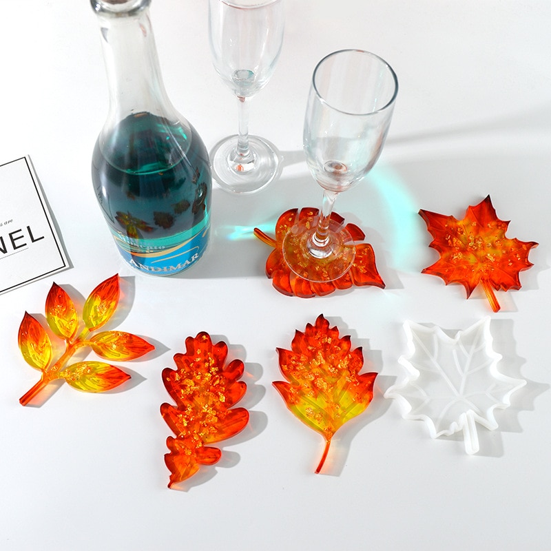 Leaf Silicone Molds Maple Palm Epoxy Resin Molds Cup Holder Mat Pad Casting Coaster DIY Coasters Mou