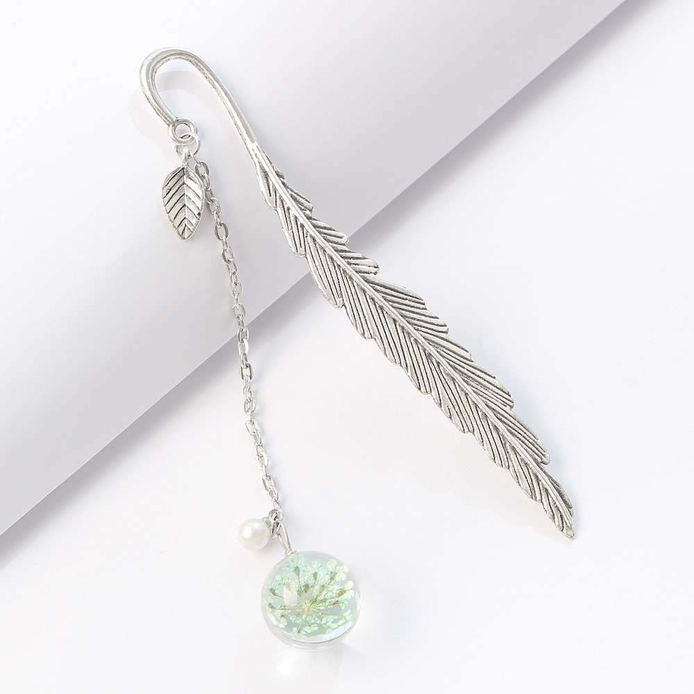 Dried Flower Specimen Bookmark Vintage Feather Reading Mark Metal Book Clip Hanging Beautiful for Tassel