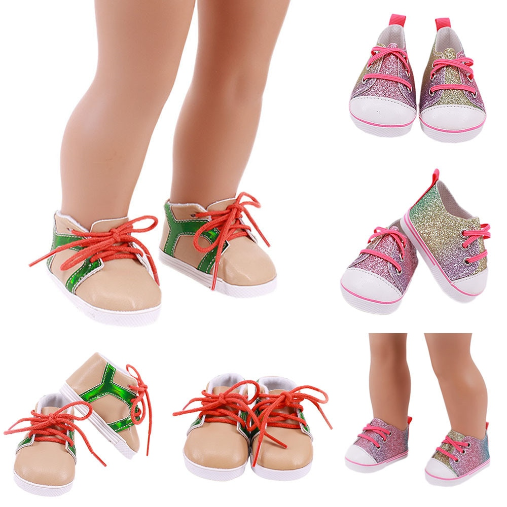7CM Manual Doll Shoes New Fashion Baby Sequins Doll Shoes For 43cm Dolls Baby New Born and 18 inches American Doll Shoes Sock недорого
