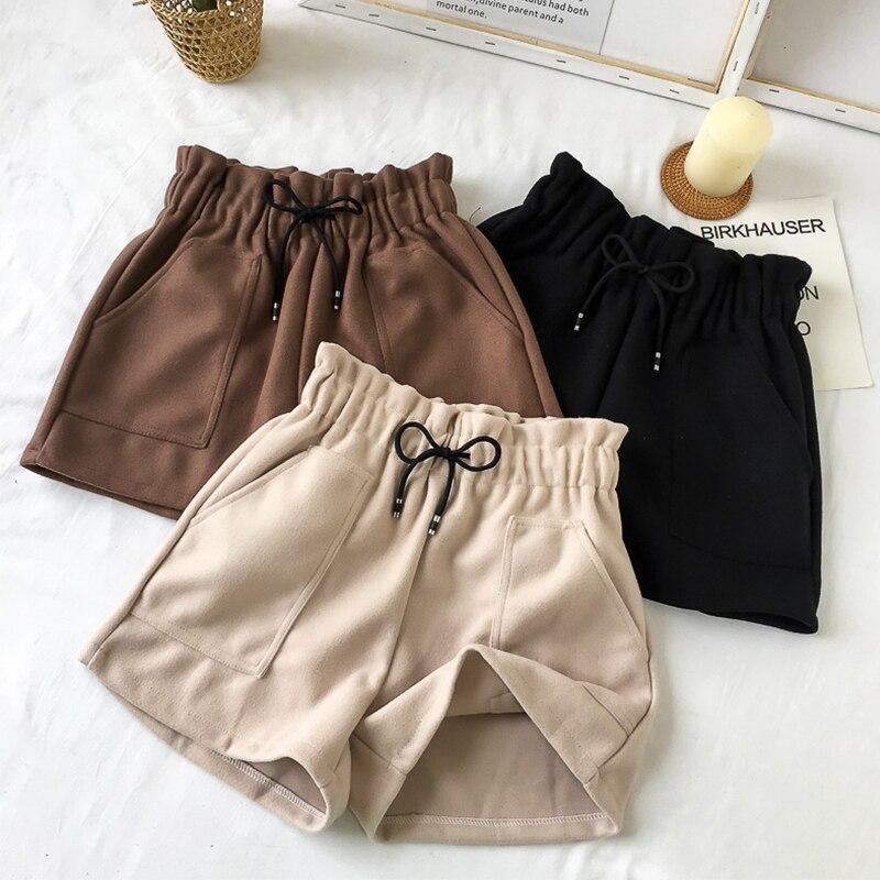 Outono inverno sólido quente woolen shorts feminino coreano cintura alta mais tamanho largura-perna shorts 5xl moda feminina simples shorts novo