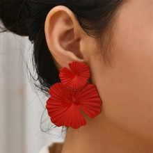 Women's Red Flower Design Drop Statement Earrings, Perfect Gift for Her,flower Jewelry,wedding Brida