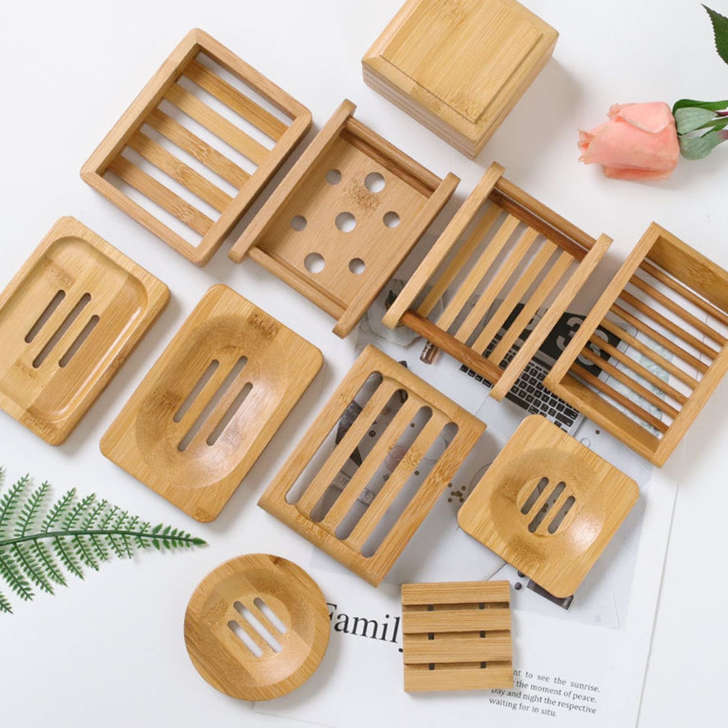 Wooden Natural Bamboo Soap Dishes Tray Holder Storage Soap Rack Plate Box Container Portable Bathroo