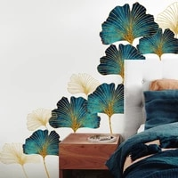 3d gingko leaf wall stickers home decor removable living room nature plant wall decals for bedroom