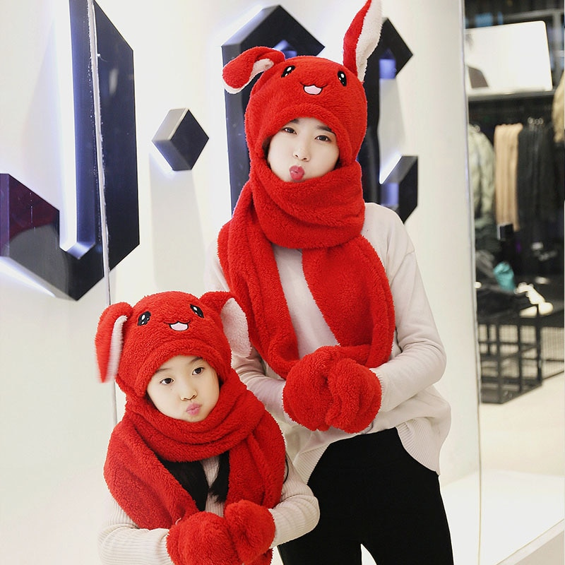3 in 1 Scarf Hat Glovest Funny Air Float Filling Ear Moving Cap Cartoon Plush Stuffed Toys Gifts for children and