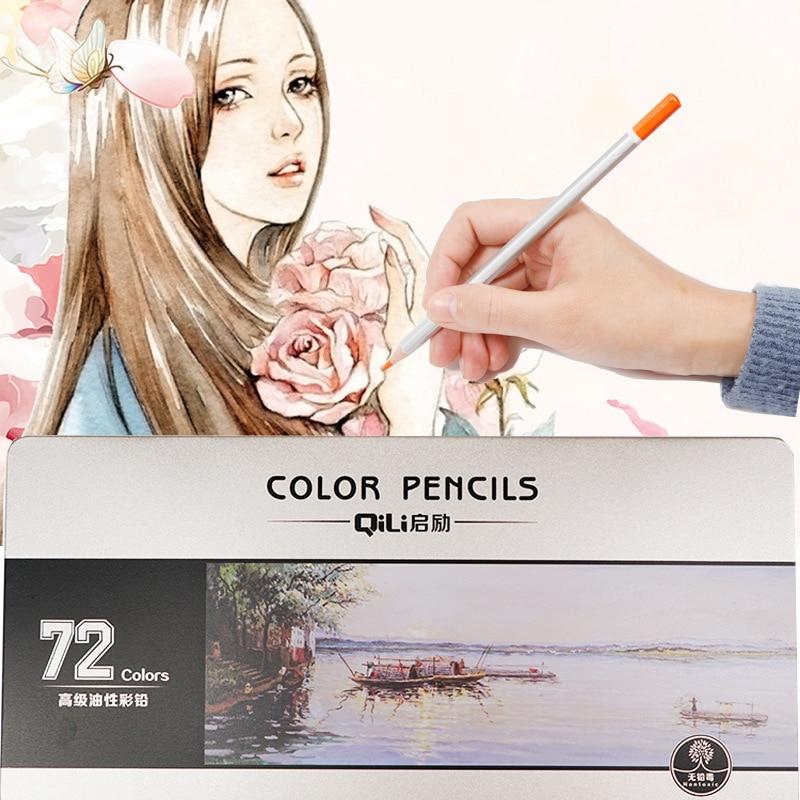 Conjunto De lápices De colores aceitosos 36/48/72 colores pintura al óleo suministros De arte para escritura dibujo lapislázuli
