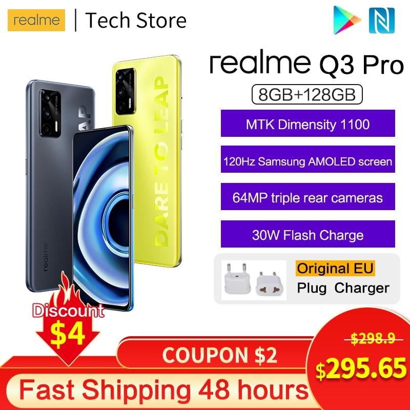 Перейти на Алиэкспресс и купить Новое поступление realme Q3 Pro 5G телефон MTK Dimensity1100 30 Вт смарт зарядки 120 Гц RefreshRate активно-матричные осид, Экран 64MP камеры мобильного телефона