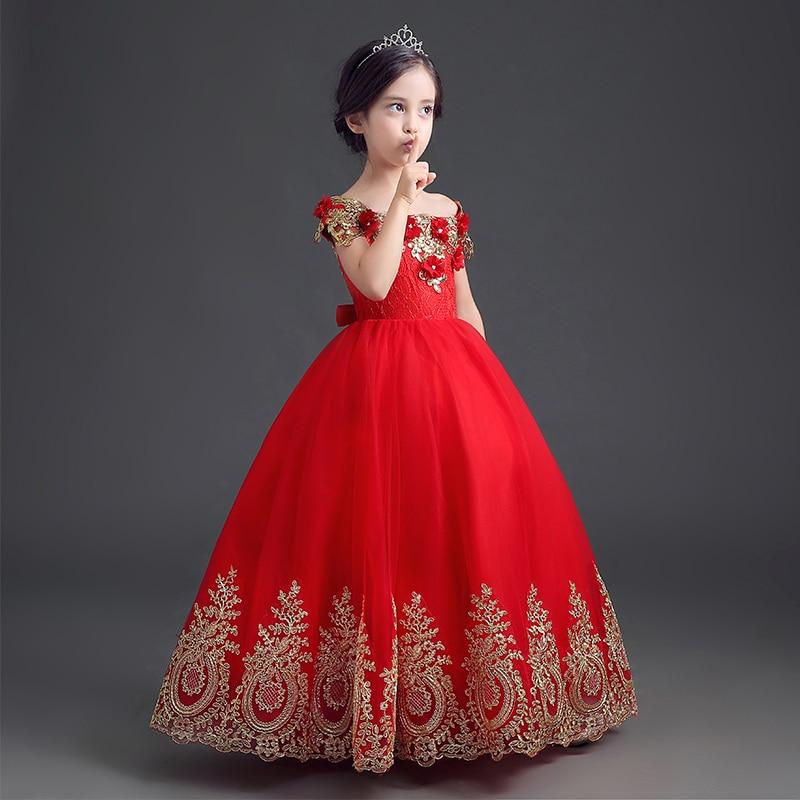فستان بناتي من الدانتيل الأحمر للأطفال فساتين أميرة للحفلات فساتين طويلة زائدة لفتاة الزهور لحفلات الزفاف للأطفال أول مناولة