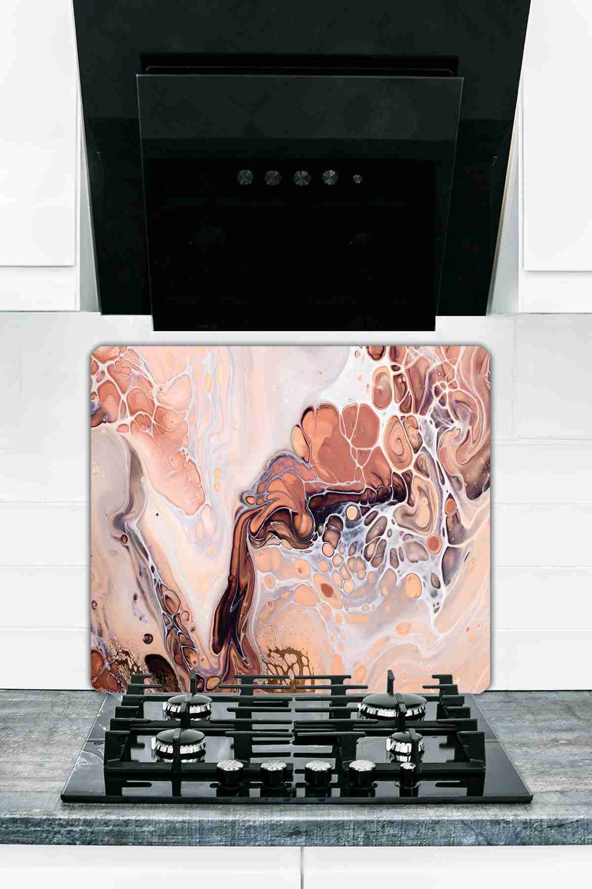 Слитная Защитная стеклянная разделочная доска для плиты, смешанная мозаика, 50 см X 56 см
