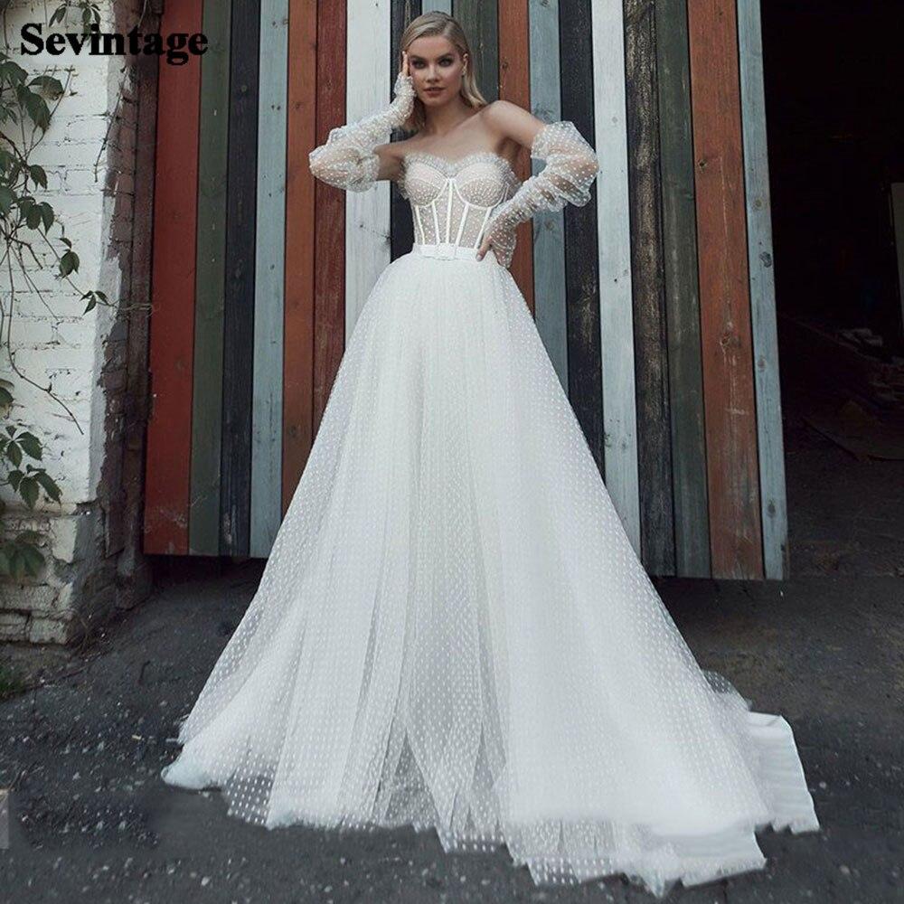 Sevintage Vintage Wedding Dress Boho Long Sleeves Bridal Gown with Boning Princess Plus Size Bride Dress suknia slubna
