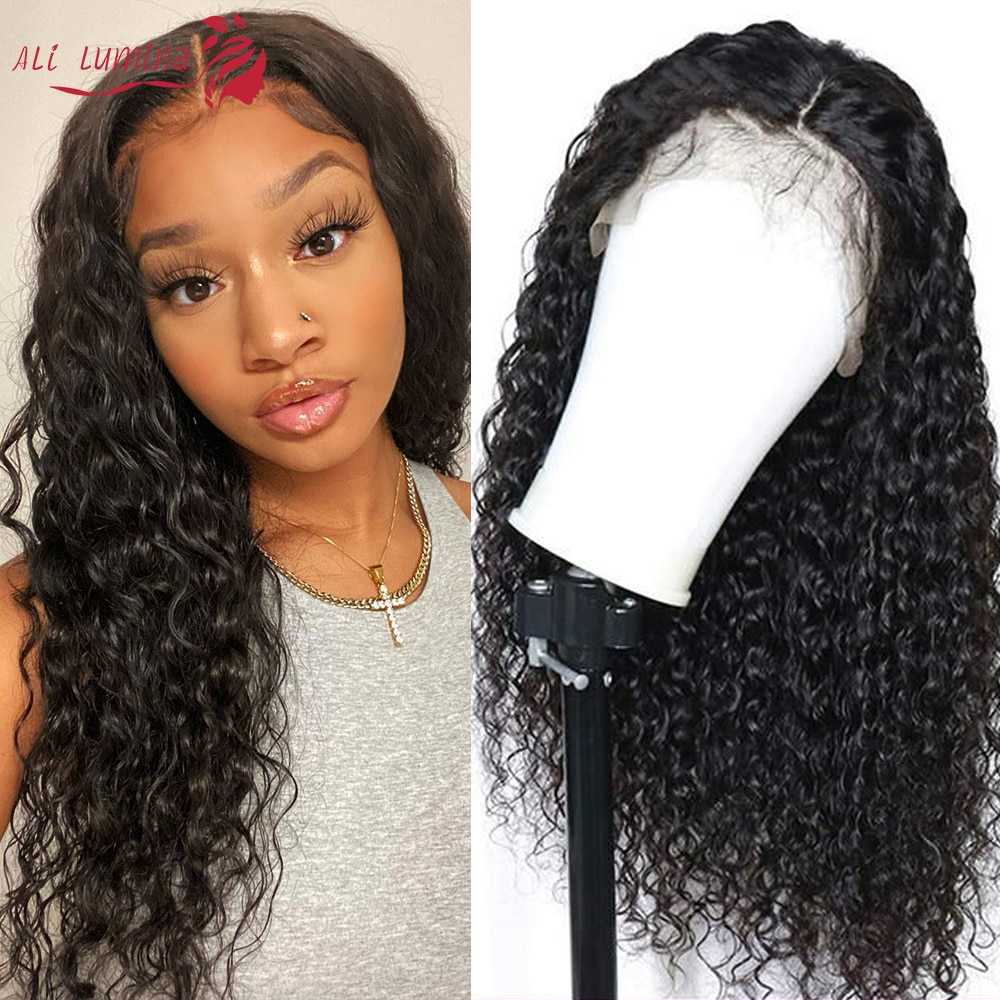 13x4 4x4 Deep Wave Lace Front Wig Brazilian Human Hair Wigs Pre Plucked With Baby Hair Transparent Closure Wig Remy HD Lace Wigs