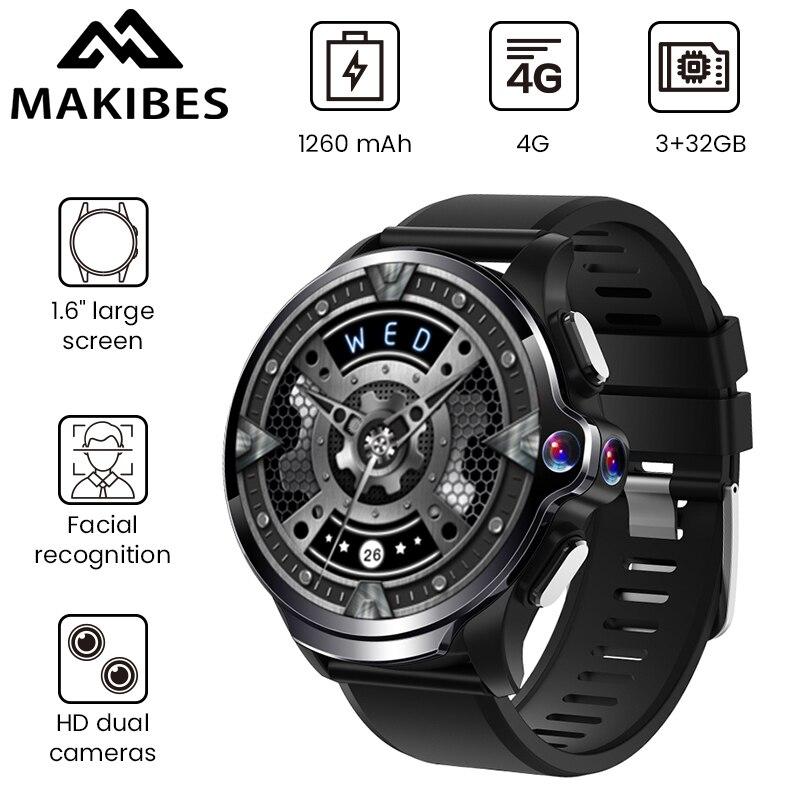 "Makibes M60 1,6 ""две камеры 3 ГБ + 32 ГБ GPS Смарт-часы телефон 1260 мАч батарея распознавание лица 4G WiFI Ответ Вызов SIM TF карта"