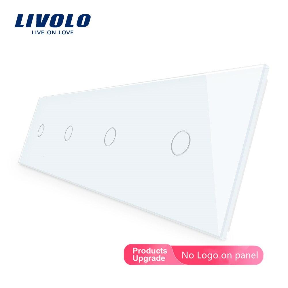 Panel de interruptor de cristal de lujo Livolo, 294mm * 80mm, estándar de la UE, Panel de vidrio cuádruple, DIY por usted mismo, 4 colores, elija gratis