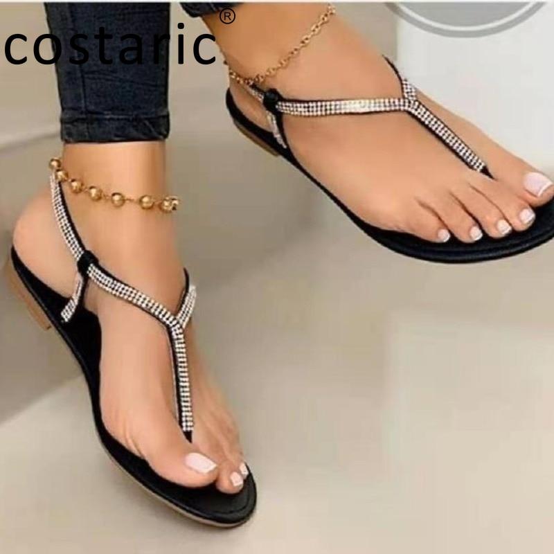 Size 35-43 Rhinestone Women Flip Flops Round Toe Slip on Women Shoes Flat Peep Toe Sandal Shiny Crystal Beach Sandals Women 2021
