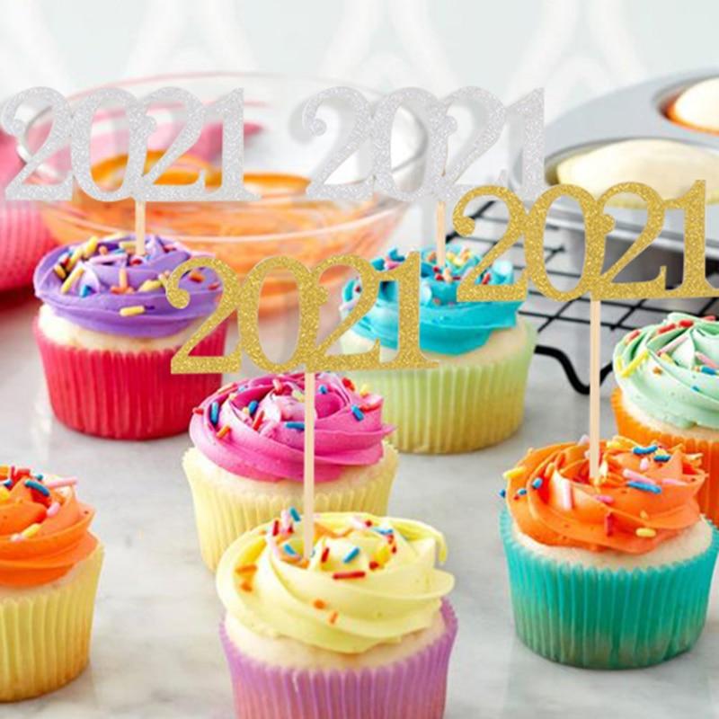Decoración de cupcakes para fiesta de fin de año, decoración de 2001,...